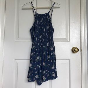 AEO Blue floral romper (with pockets!)